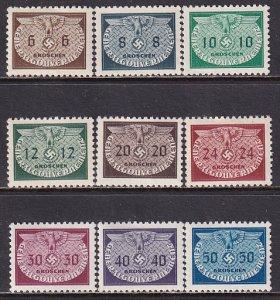Poland 1940 Sc NO16-24 Eagle Swastika Official WW2 German Occupation Stamp MNH