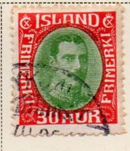 Iceland Sc 183 1931 30 aur red & green Christian X stamp used