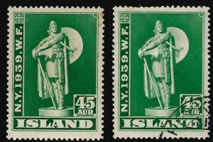 Iceland Attractive Sc#215 Mint & Used F-VF
