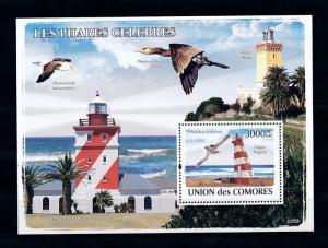 [40263] Comores Comoros 2009 (2008) Birds Lighthouse Africa MNH Sheet