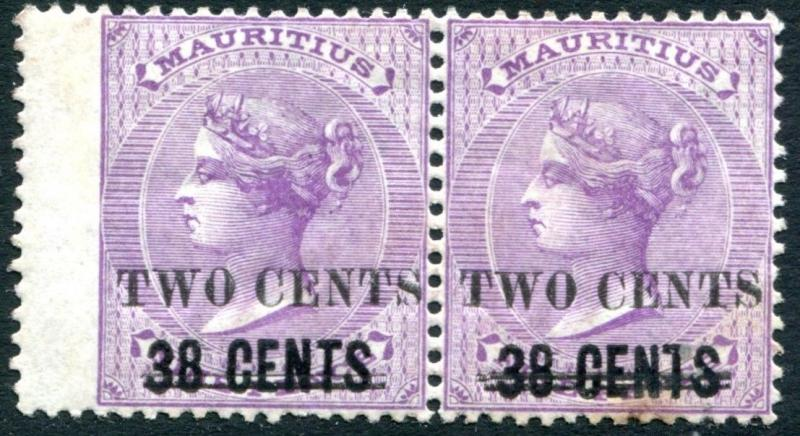 MAURITIUS-1891 2c on 38c on 9d Pale Violet Horizontal Pair Sg 120 MOUNTED MINT