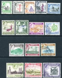 RHODESIA & NYASALAND-1959-62 Set to £1 Sg 18-31 FINE USED V25774