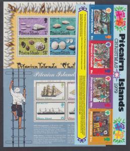 Pitcairn Islands Sc 140a, 150a, 191a, MNH. 1974-79 Souvenir Sheets, 3 different