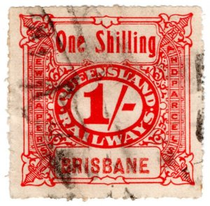 (I.B) Australia - Queensland Railways : Parcel Stamp 1/- (Brisbane)