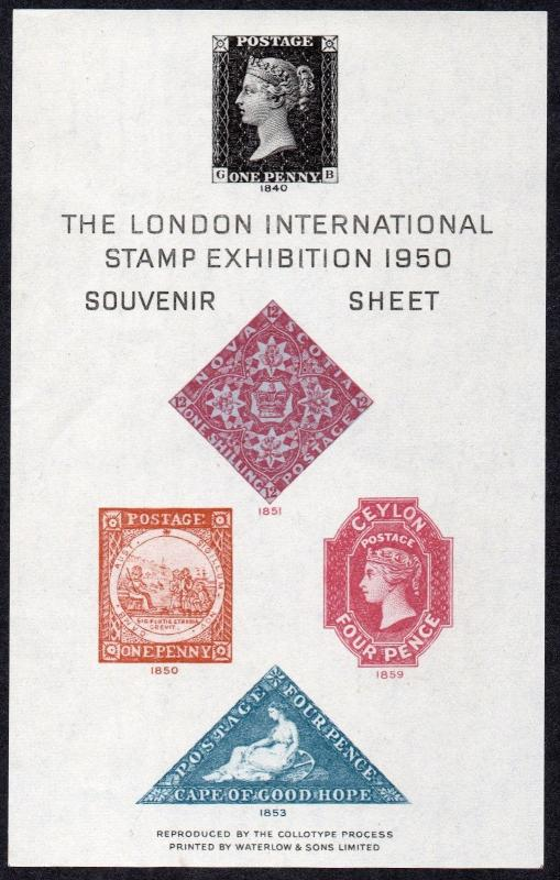 KGVI 1950 The London International Stamp Exhibition Souvenir Sheet MNH