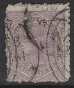 NEW SOUTH WALES SG235ca 1885 6d MAUVE p12x10 USED