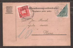 Austria Sc 169 Bisect on 1919 Postage Due Post Card