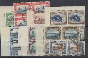 South West Africa 1938 Blocks & Pair Set To 1/- MH (1 VFU) JK408