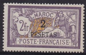 FRENCH MOROCCO 1902 MERSON 2 PESETAS ON 2FR TOP VALUE
