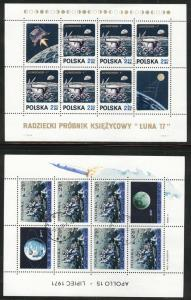 Poland Scott 1850-1 Used CTO 1971 Apollo 15 sheet set