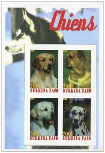 BURKINA FASO SHEET IMPERF CINDERELLA DOGS