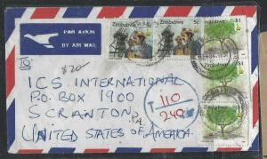 ZIMBABWE (PP1405B)  $1.00X3+5CX2 A/M TO USA TAXED 110/220