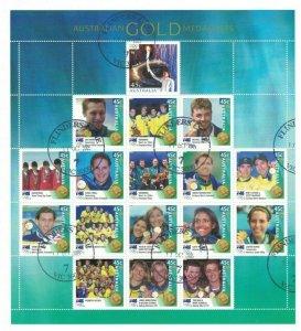 AD328) Australia 2000 Australian Olympic Gold Medallists Sheetlet CTO/Used