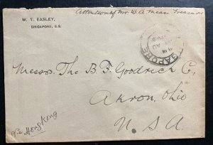 1910s Singapore Cover To Akron OH USA Via Hong Kong Back Stamped