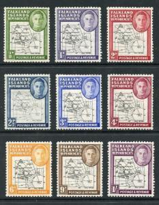 Falkland Islands SG G9/16 1946-49 Maps (Thin) Set of 9 M/M