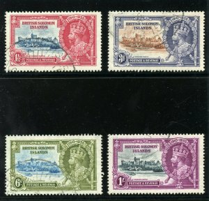 Solomon Islands 1935 KGV Silver Jubilee set complete VFU. SG 53-56. Sc 60-63.