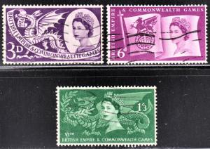 Great Britain Scott 338-40  complete set  F to VF used.