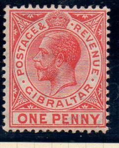 Gibraltar Sc 67 1912 1d carmine George V stamp mint