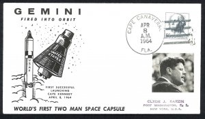 U.S.A. GEMINI World's First Two Man Space Capsule from Cape Kennedy (1964) Cover