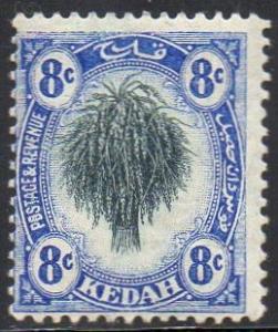 Kedah 1912 8c black and ultramarine  MH