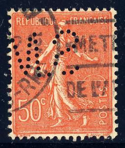FRANCE - ca.1930 - Yv.199 t.IV 50c Semeuse Perforé S.M. (Ancoper S.M.172)