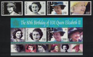 Vanuatu 80th Birthday of HM Queen Elizabeth II 4v+MS SG#962-MS966 SALE BELOW