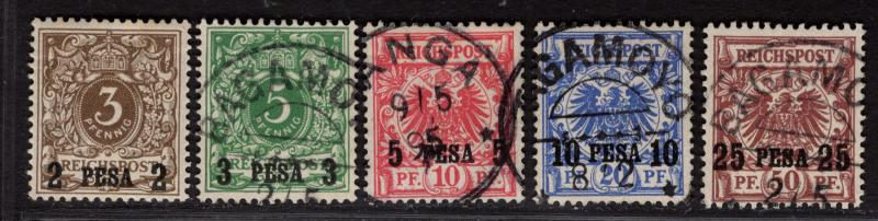 $German East Africa Sc#1-5 used, F-VF, #1 is mint/H, Cv. $151.50