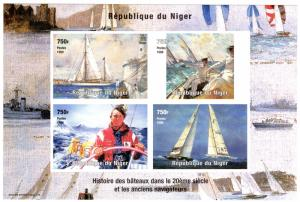 Niger 1999 Sc#1012 Yachts Racing/Lighthouse/Ships Sheetlet (4) Imperforated