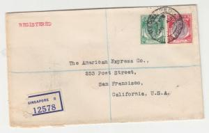 STRAITS SETTLEMENTS, 1937 Registered cover to USA, KGV 2c. & 25c.