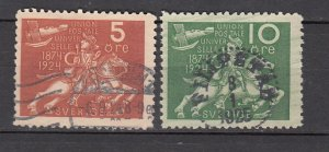 J26399  jlstamps 1924 sweden used #213-4 postrider