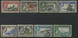 Gilbert & Ellice Islands KGVI 1938 various values to 2/6d used