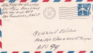 United States 1955 Army Air Force Post Irumigawa Japan to San Francisco cover D