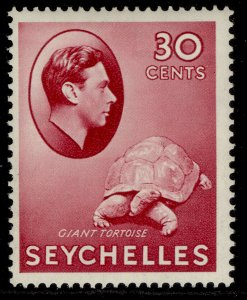 SEYCHELLES GVI SG142, 30c carmine, M MINT. Cat £50. CHALKY