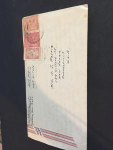 Saudi Arabia to USA Cover with 1949 Detailed Letter Enclosed Scott #168,173 &RA5