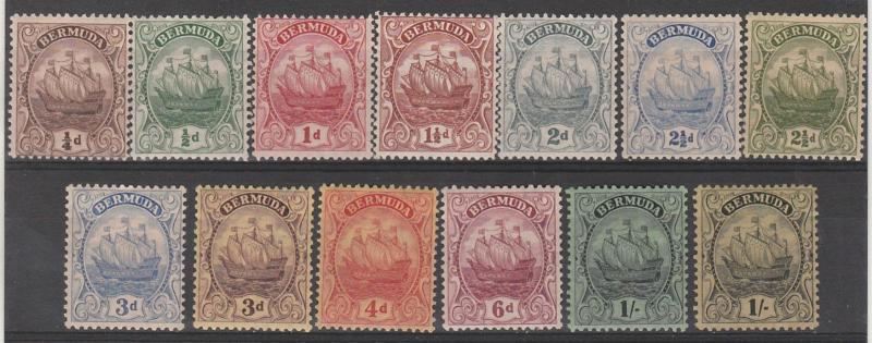 BERMUDA 1922 SHIP SET PLUS 1/- SHADE WMK MULTI SCRIPT CA