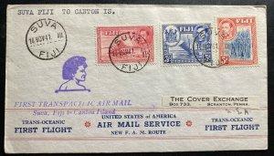 1941 Suva Fiji First Flight Cover FFC To Canton Island Transpacific