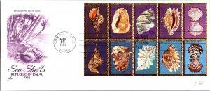 Palau, Worldwide First Day Cover, Seashells