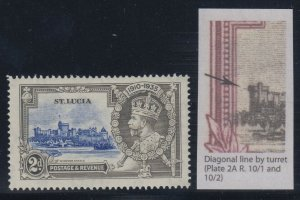 St. Lucia, SG 110f, MLH Diagonal Line by Turret variety