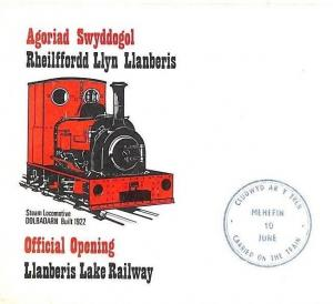 GB Wales LLANBERIS LAKE RAILWAY Opening Cover 1972 MACHIN REGIONAL Ai205