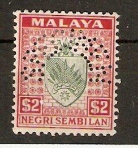 MALAYA NEGRI SEMBILAN SG38s 1936 $2 GREEN & SCARLET SPECIMEN MTD MINT