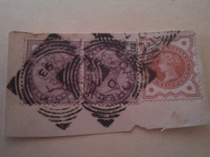 Great Britain two #65 and pop ne #86 used on paper
