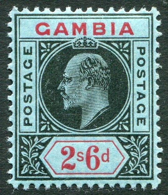 GAMBIA-1909 2/6 Black & Red/Blue Sg 84 LIGHTLY MOUNTED MINT V20319