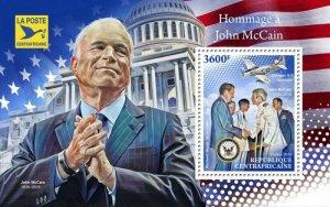 HERRICKSTAMP NEW ISSUES CENTRAL AFRICA John McCain Souvenir Sheet