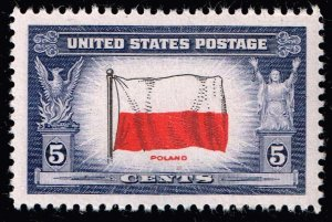 US STAMP #909 – 1943 Overrun Countries: 5c Flag of Poland  MNH/OG SUPERB