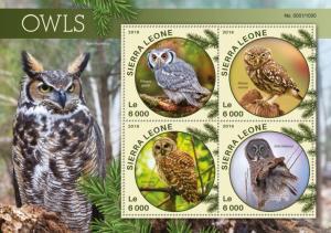 Sierra Leone MNH S/S OWLS 2016 4 Stamps  HOOT!! HOOT!!!