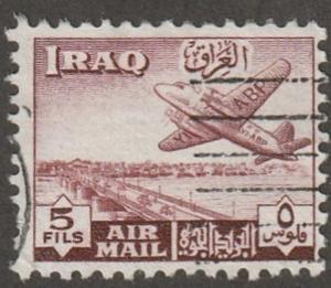 IRAQ stamp, Scott# C-3, used,  Airmail stamp, airplane, red, 5fils #c-3