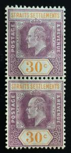 Malaya Straits Settlements 1909 KE VII 30c 2V MCCA MLH SG#162 CV£110 M1872