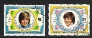 Comoro Islands #546-7 comp used cv $5.25 Princess Diana