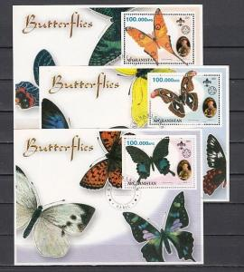 Afghanistan, 2001 Cinderella issue. Butterflies on 3 Canceled s/sheets.