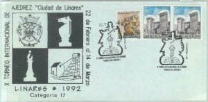 84845 -  SPAIN - POSTAL HISTORY - SPECIAL COVER & postmark  1992  CHESS